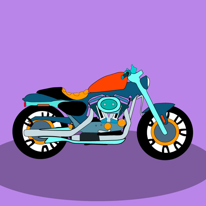 Harley Davidson Motorcycle Illustration by Kaelen Felix for 360 Magazine