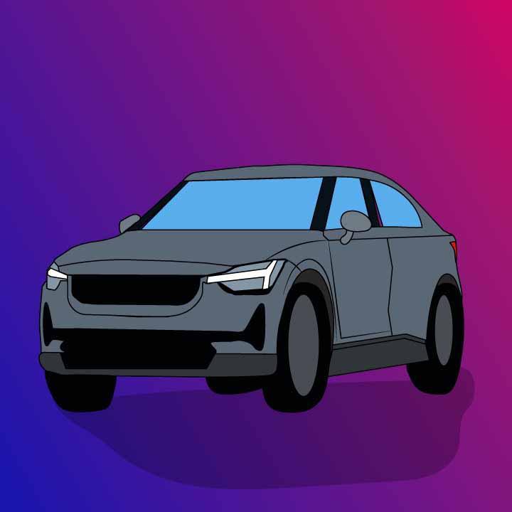 Polestar 2 illustration by Kaelen Felix for 360 MAGAZINE