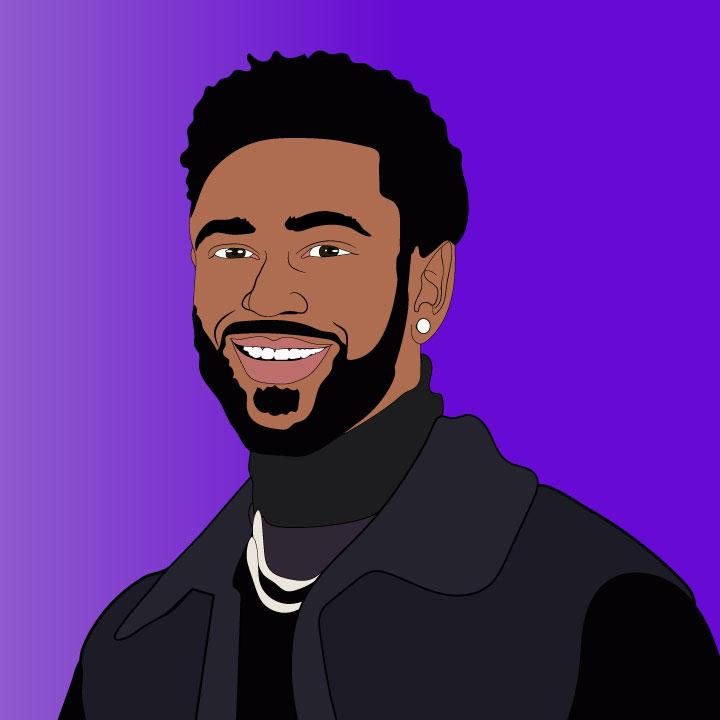 Big Sean Detroit Pistons annpuncement illustration by Kaelen Felix for 360 MAGAZINE