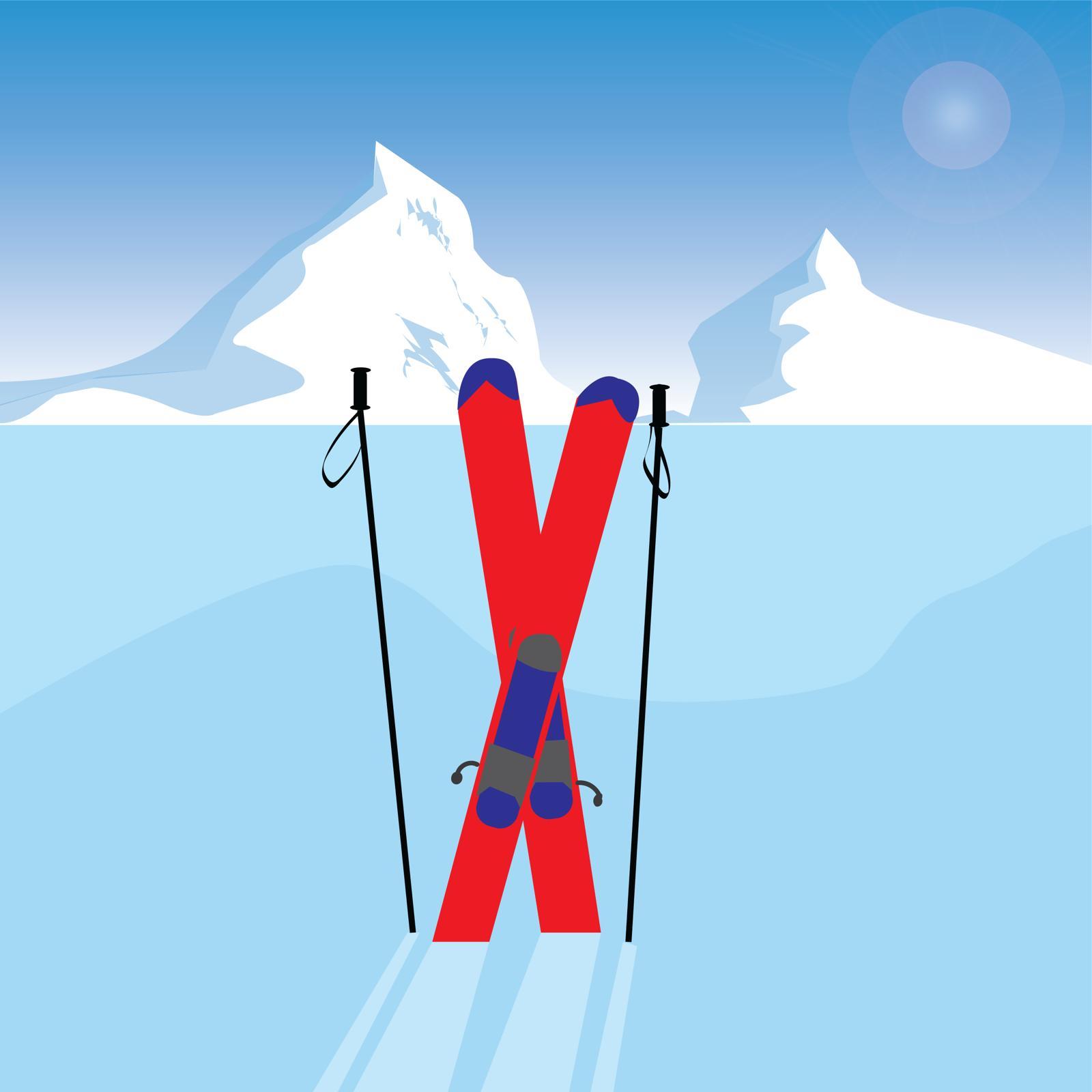 Gabrielle Archuleta illustration for 360 MAGAZINE skiing article