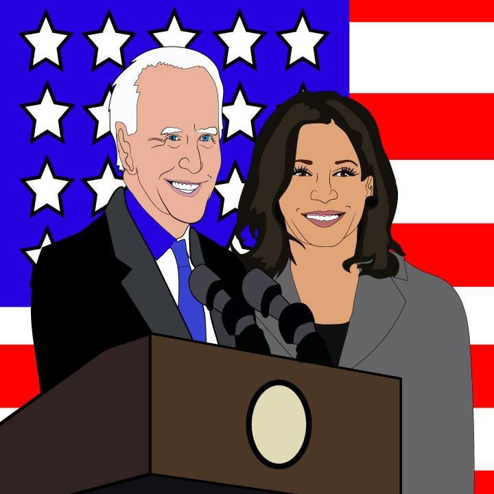 Joe Biden and Kamala Harris Illustration by Kaelen Felix