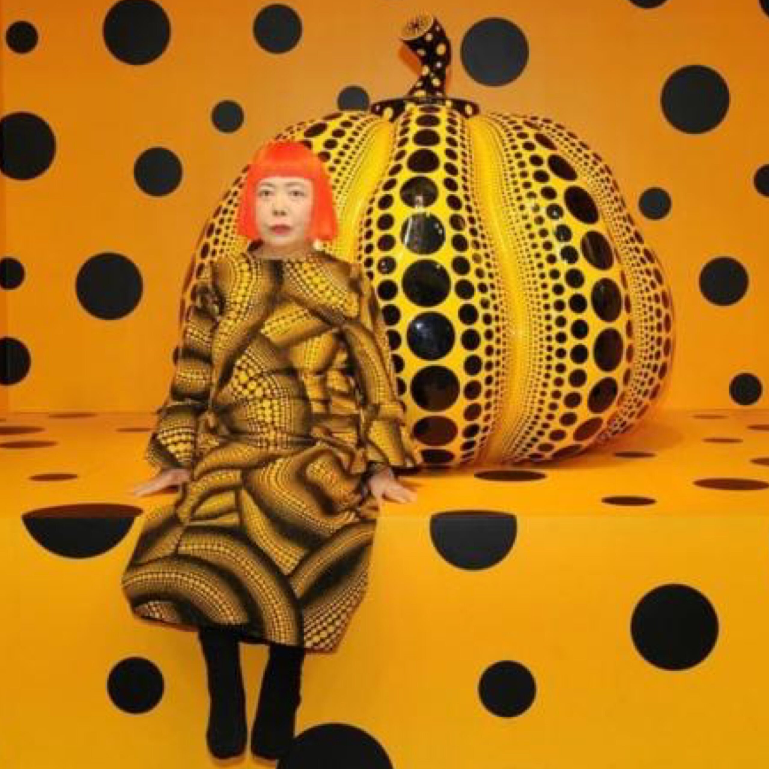 Kusama with Pumpkin, 2010 for 360 Magazine, Courtesy of Ota Fine Arts, David Zwirner, Victoria Miro