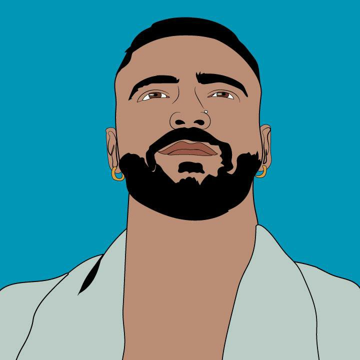 Maluma illustration by Kaelen Felix for 360 MAGAZINE