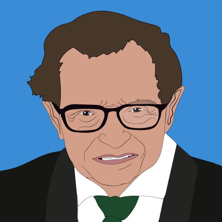 Illustration of Larry King by Kaelen Felix for 360 Magazine