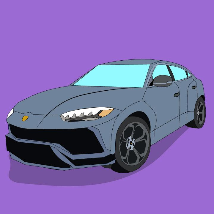Illustration of Lamborghini Urus by Kaelen Felix for 360 Magazine