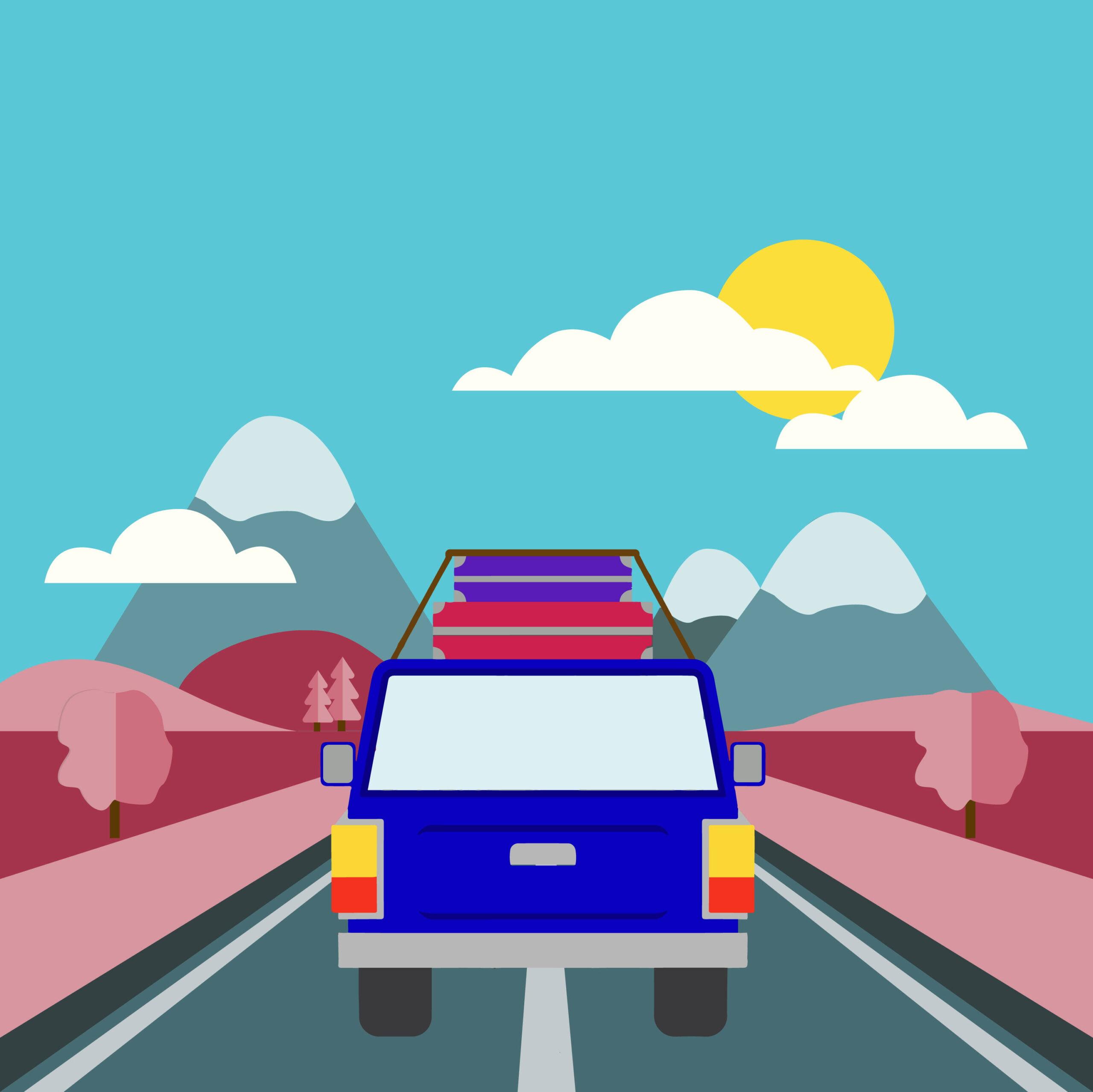 roadtrip illustration by Rita Azar for 360 Magazine