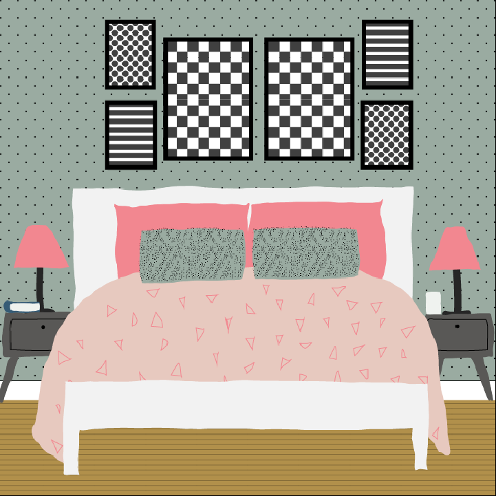Bedroom illustration by Heather Skovlund for 360 Magazine