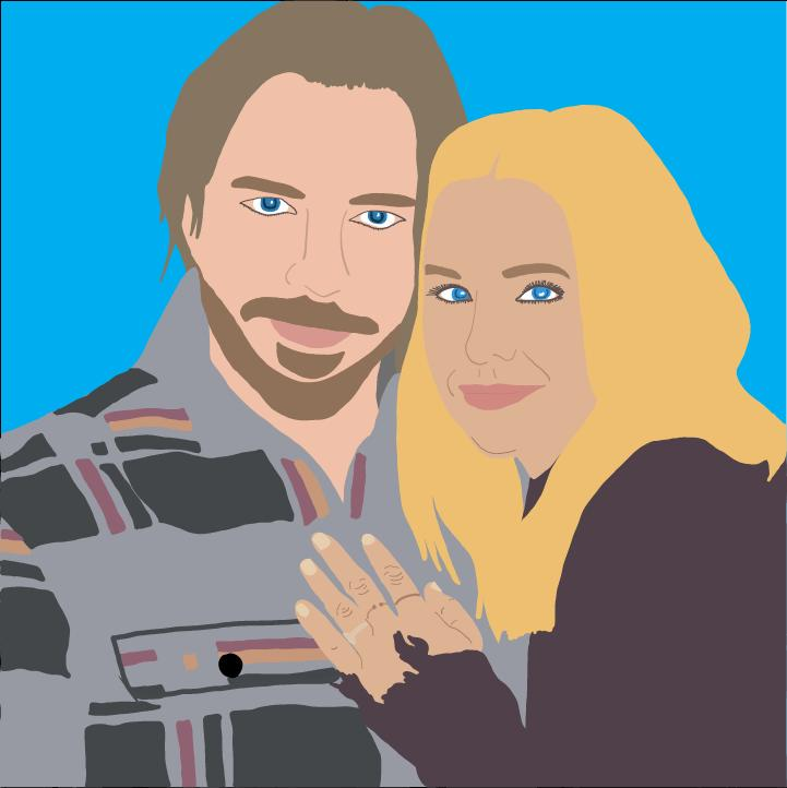 Dax Shepard and Kristen Bell illustration by Heather Skovlund for 360 MAGAZINE