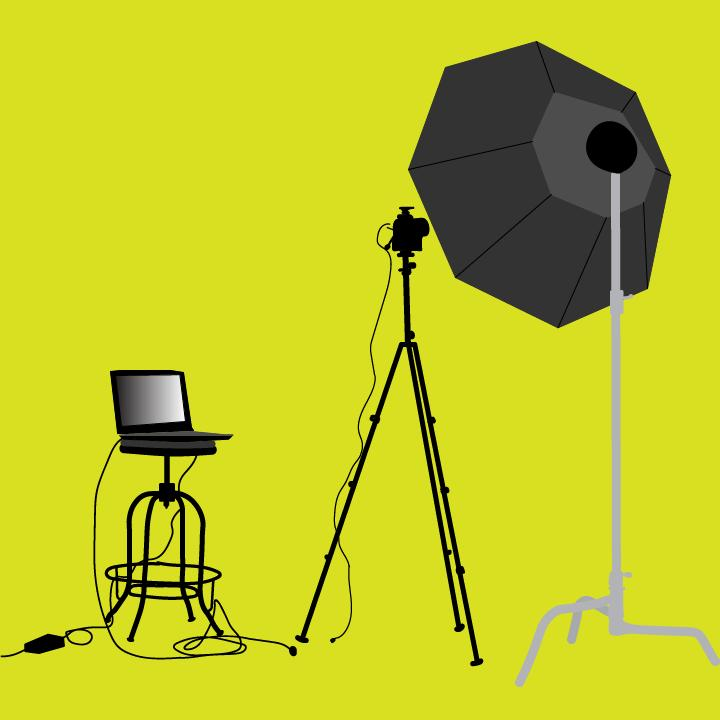 Photo video shoot story illustration by Heather Skovlund for 360 MAGAZINE