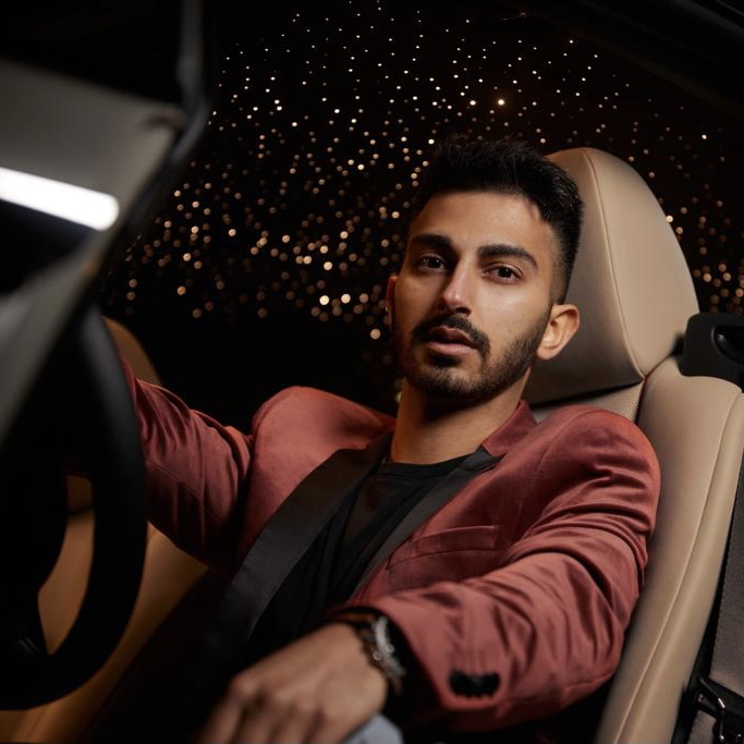 Krish Narsinghani of 360 Magazine in the 2021 Rolls Royce Wraith shot by Jeff Langlois for 360 Magazine