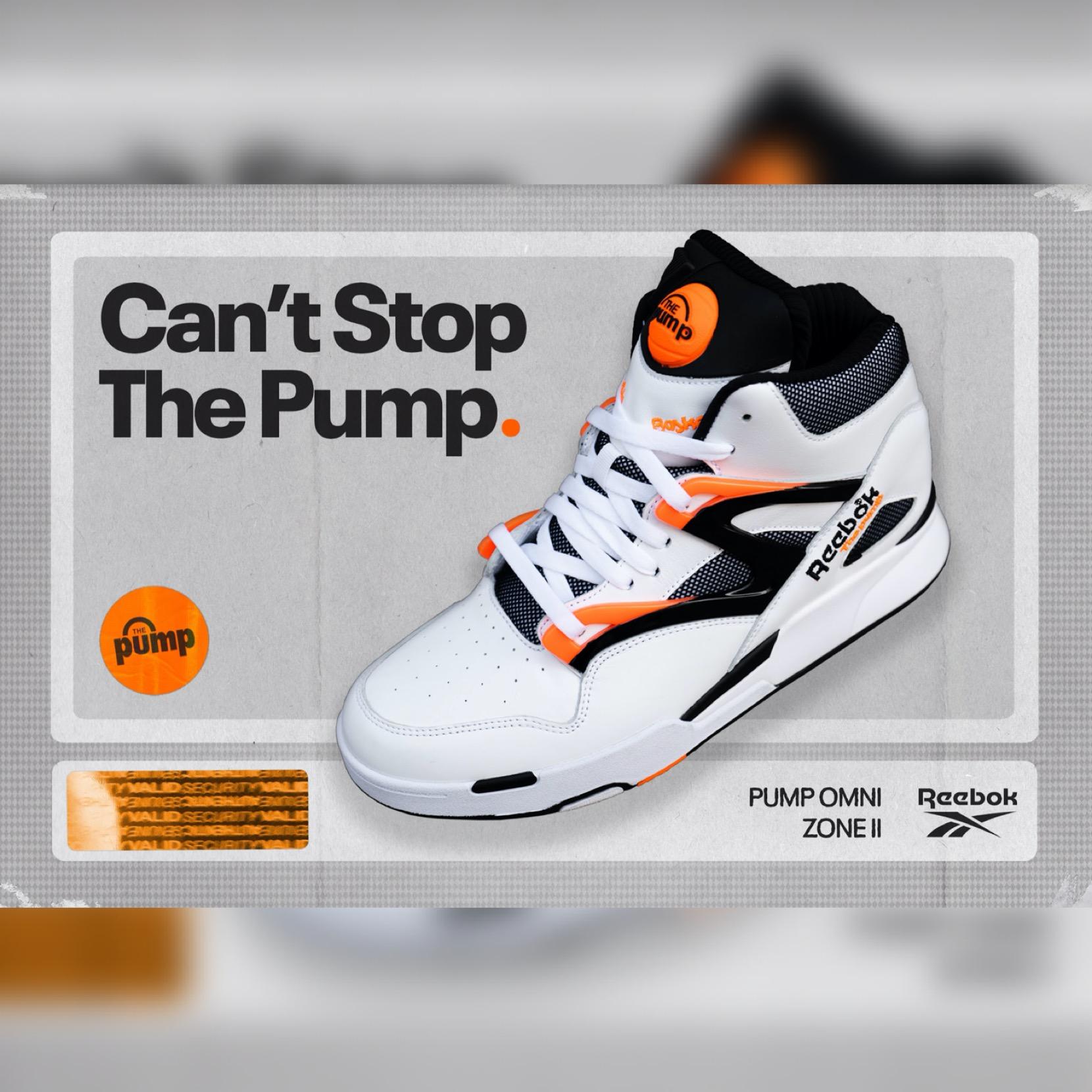 "Reebok's Pump Omni Zone II ""White"" sneakers via Jason Silva at Reebok for use by 360 Magazine"
