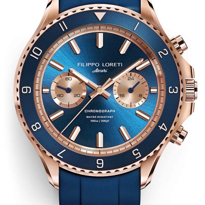 Filippi Loreti Ascari Indigo Rose Gold Rubber watch image for use by 360 Magazine