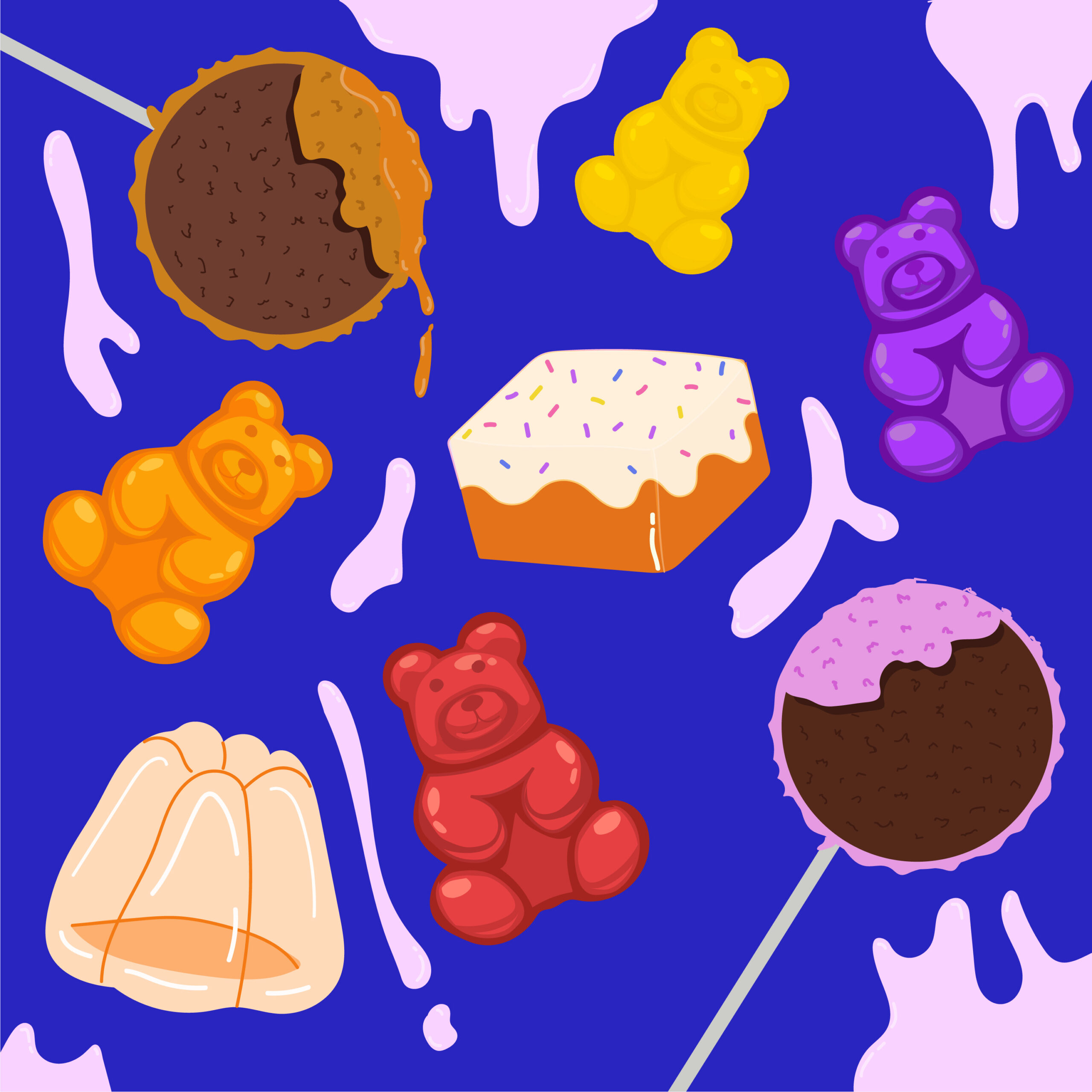 new candy illustration by Rita Azar by 360 Magazine