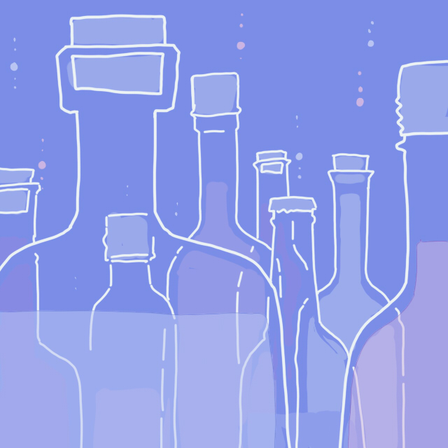 bottle illustration by Ho Szemui for use by 360 Magazine