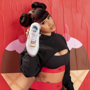 white gp Cardi B x Reebok press image for use by 360 Magazine