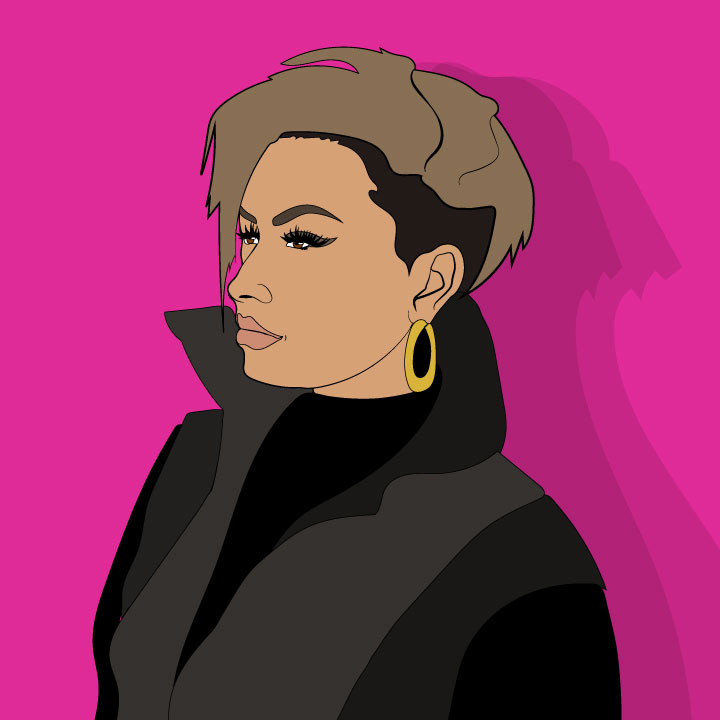 Demi Lovato illustration by Kaelen Felix for use by 360 Magazine
