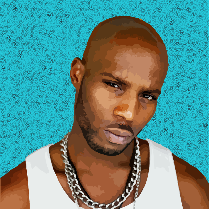 DMX illustration by Heather Skovlund (Photo Credit Jonathan Mannion) for 360 Magazine