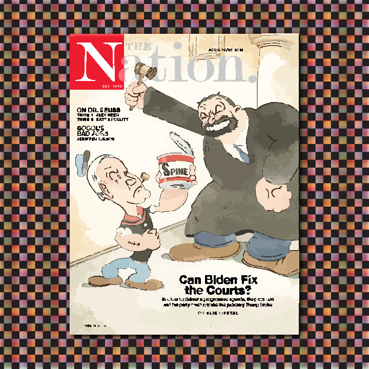 The Nation cover illustration by Heather Skovlund (Original cover art Illustration by Barry Blitt) for 360 Magazine