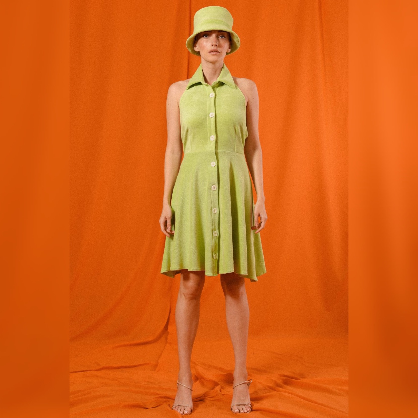 CARTAGENA COLLAR DRESS SHORT & BUCKET HAT in NEON TERRY CLOTH by Saint Movaji for use by 360 Magazine