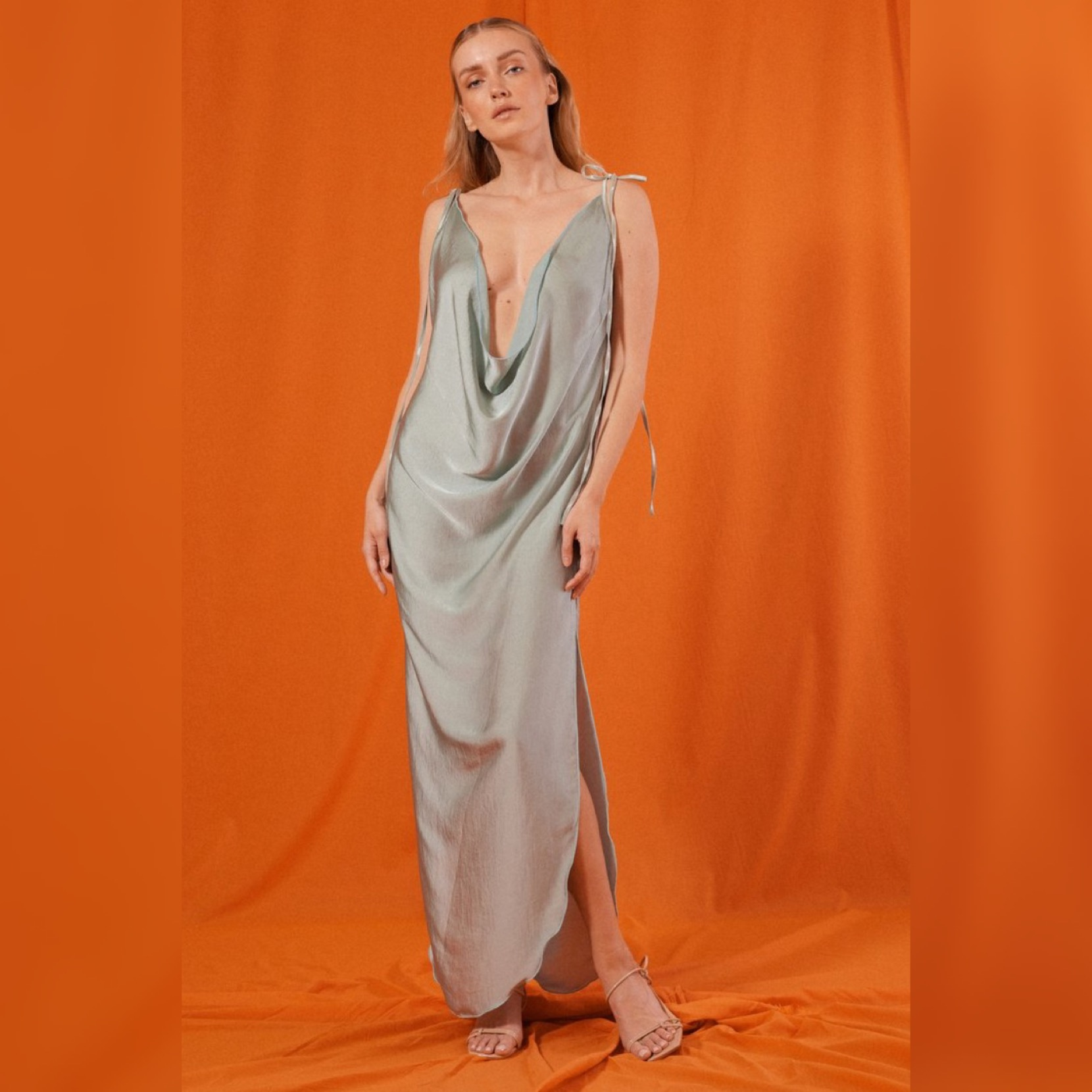 PARLA DOUBLE DRAPE DRESS in SEAFOAM PEACE SILK by Saint Mojavi for use by 360 Magazine