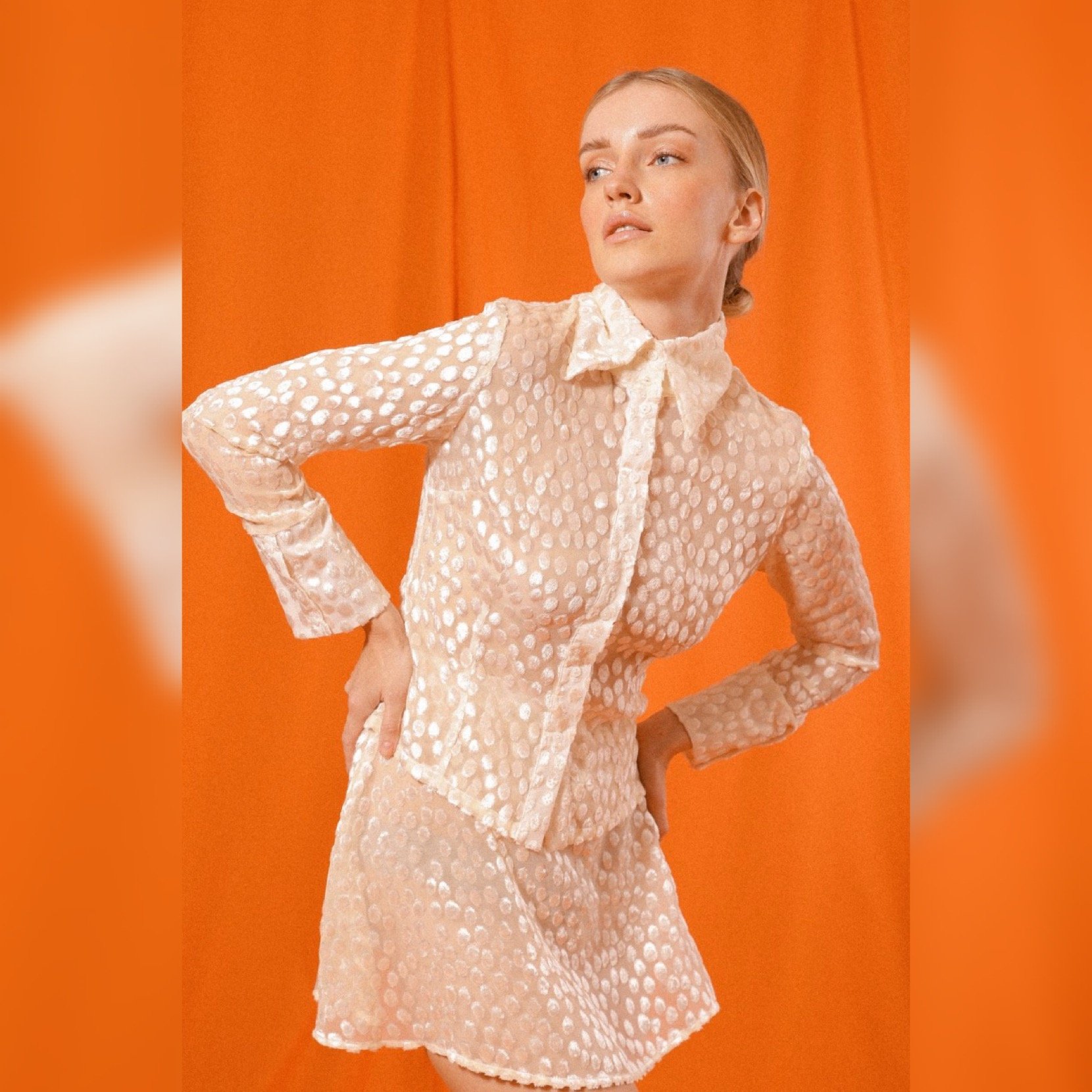 BELLISI BUTTON-UP SHIRT in CREAM SILK EMBROIDERED POLKA DOT by Saint Mojavi for use by 360 Magazine