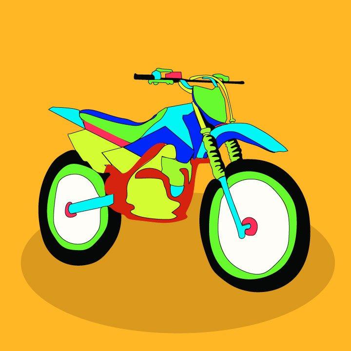 Motorbike illustration by Kaelen Felix for 360 magazine