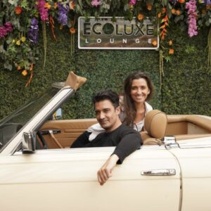 """Gilles Marini and his beautiful wife Carole arrived in style to Debbie Durkin's EcoLuxe """"Drive Thru"""" Luxury Experience by Shae Savin PR for use by 360 Magazine"""