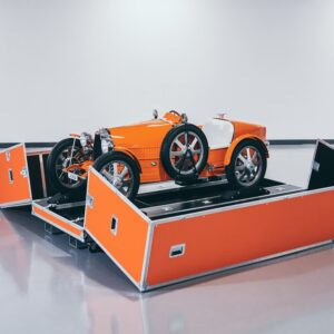 A Personalized Branded Hand-built Transport Case Allows For Safe Transport of the Vehicle via Ben Lewis for Bugatti for use by 360 Magazine