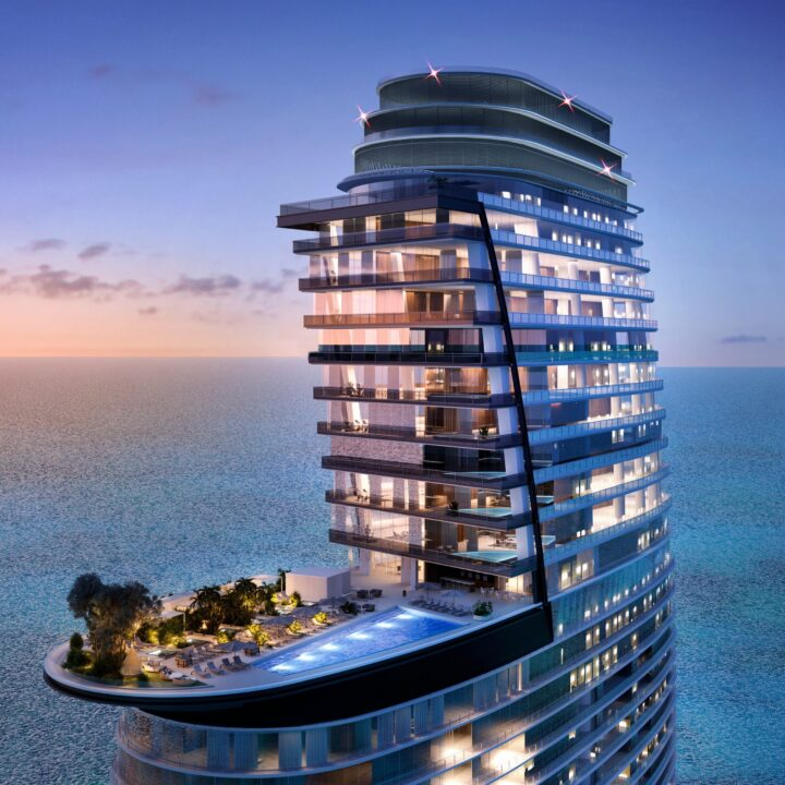 Aston Martin Residences at 300 Biscayne Boulevard Way Miami BU Building/Penthouse Rendering from G&G Business Developments via Elliott Staes at ESPR for use by 360 Magazine