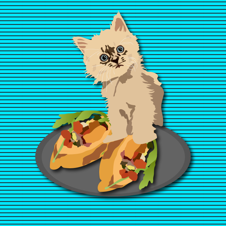 Cat with tapas illustration by Heather Skovlund for 360 Magazine