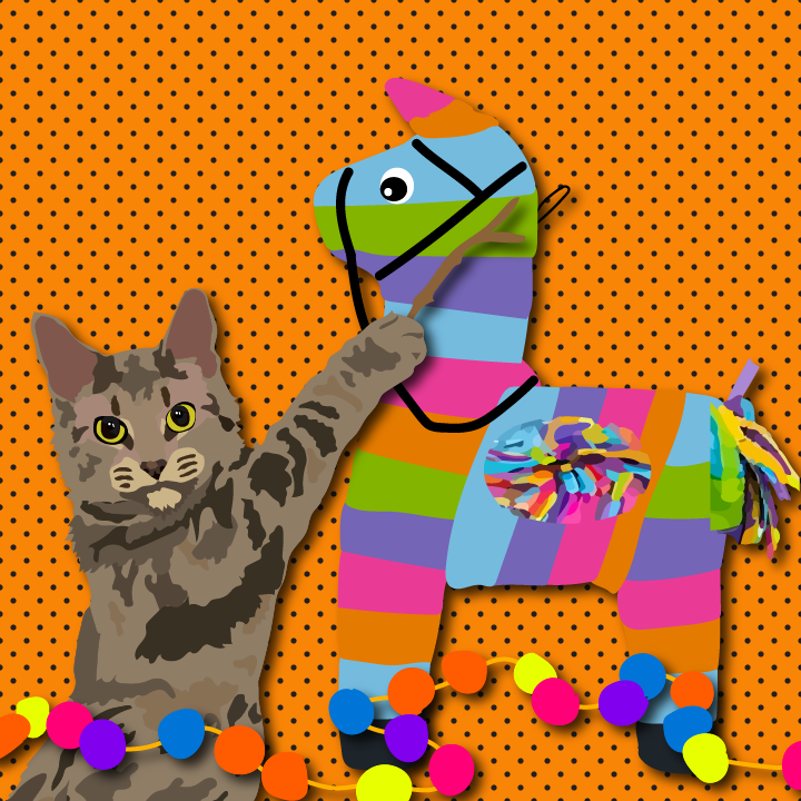 Cat hitting piñata illustration by Heather Skovlund for 360 Magazine
