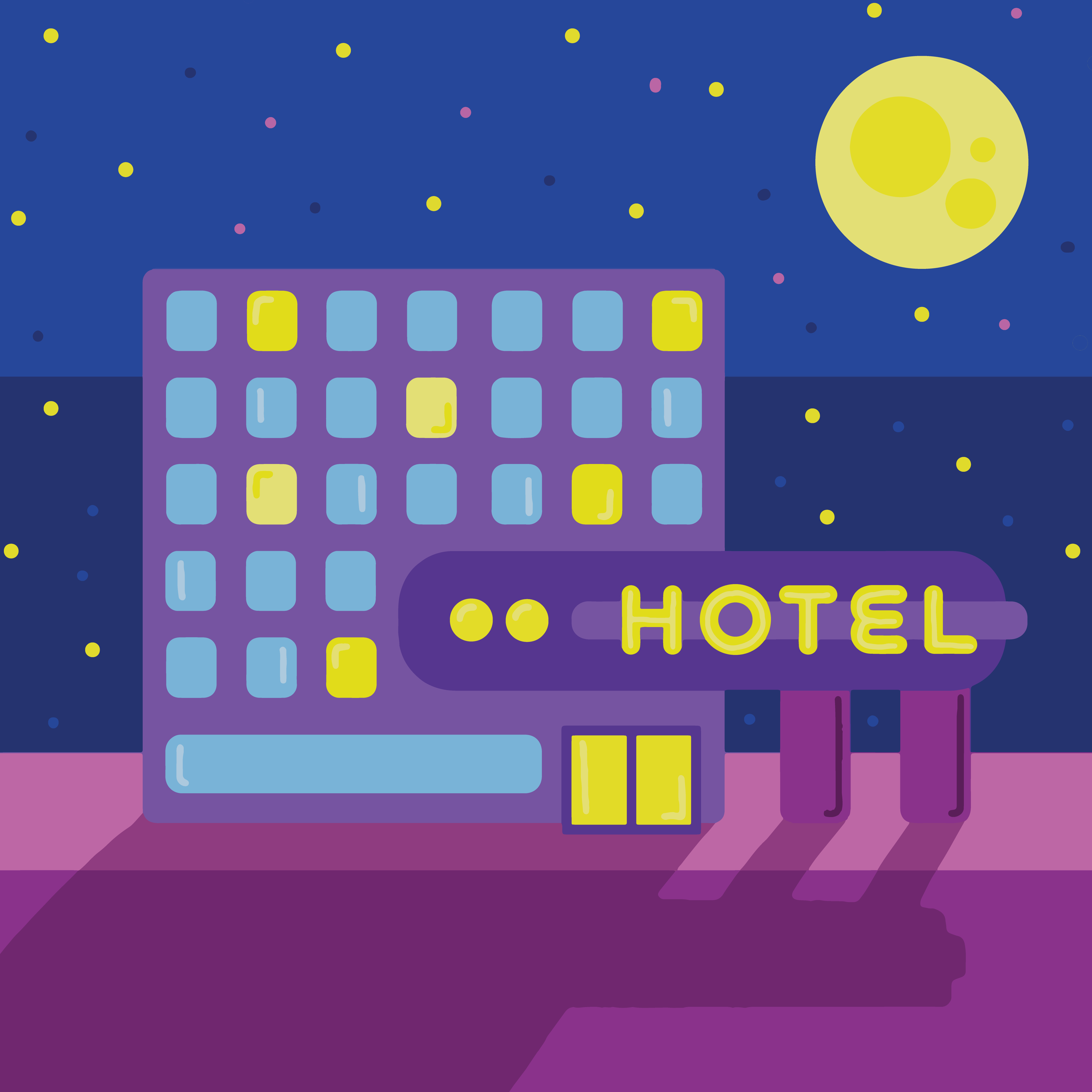 Hotel at Night via Mina Tocalini for use by 360 Magazine