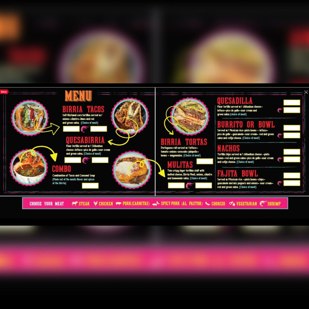 Chinelo's Tacos NYC menu image for use by 360 Magazine