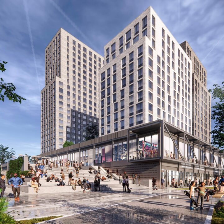 Bronx Point Development renderings via S9 Architecture (building & aerial renderings) for use by 360 Magazine