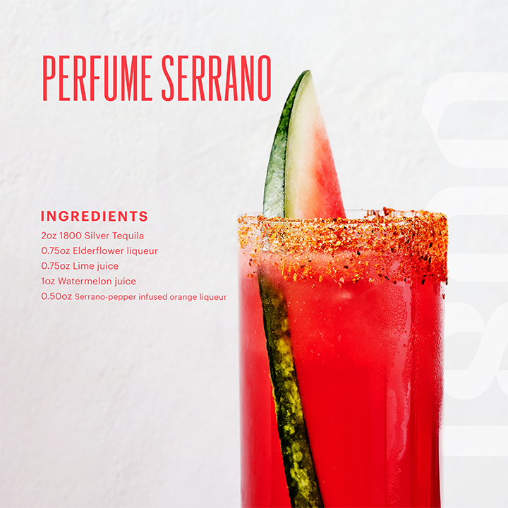 Perfume Serrano image via 1800 Tequila for use by 360 Magazine