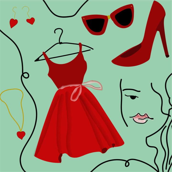 Fashion illustration by Rita Azar for use by 360 Magazine