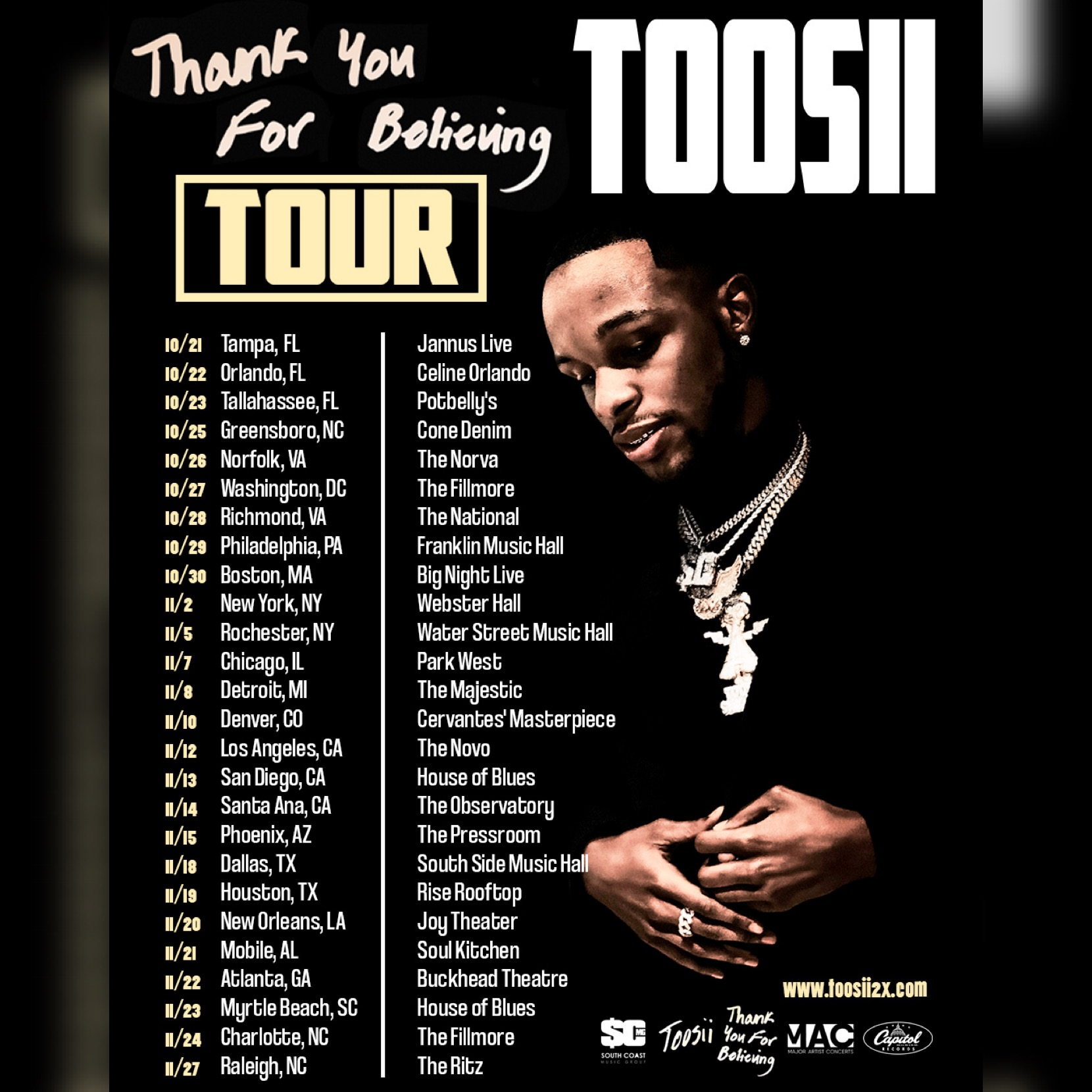 Toosii Tour Poster courtesy of Capitol Music group for use by 360 Magazine