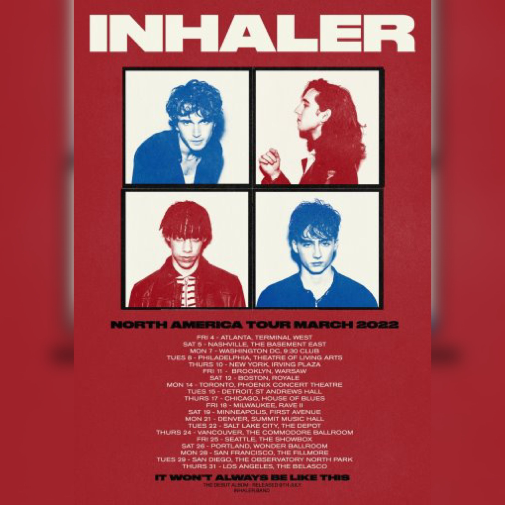 Inhaler Tour poster courtesy of Interscope records for use by 360 Magazine