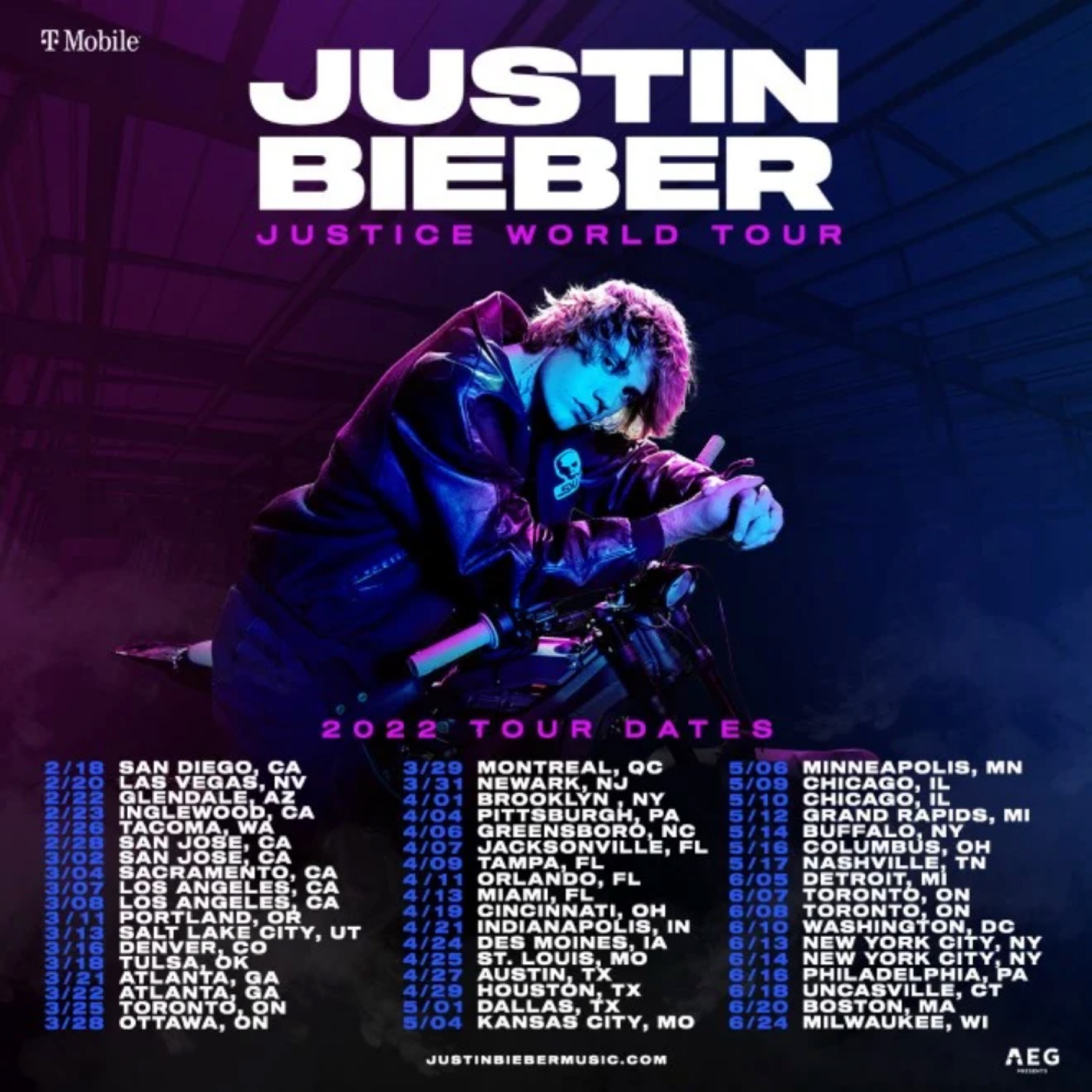 Justin Bieber Justice World Tour image via Justin Bieber for use by 360 Magazine