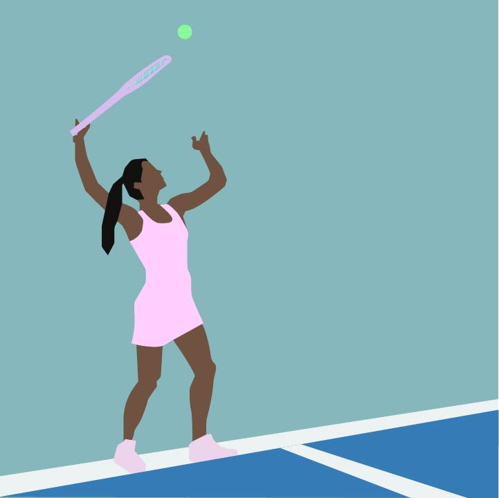 Fitness/Tennis illustration by Rita Azar for use by 360 Magazine