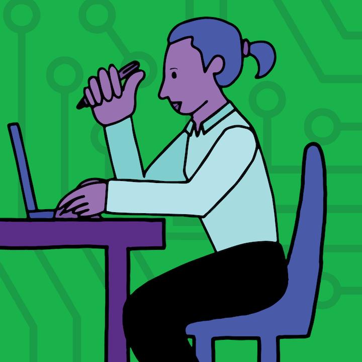 Woman at computer illustration by Mina Tocalini