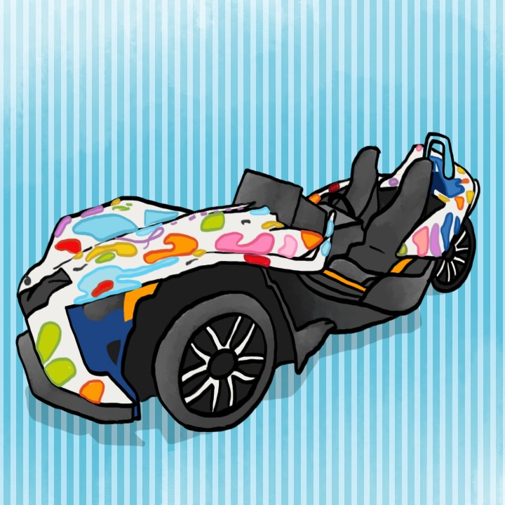 Three-Wheeled Batmobile illustration by Alex Bogdan based on Shelbi Nicole's art from from Sinclaire Johnson and the band amp agency for use by 360 Magazine