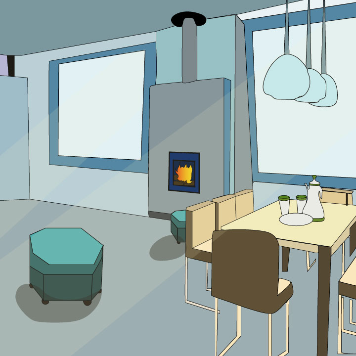 interior design illustration via Kaelen Felix for use by 360 Magazine
