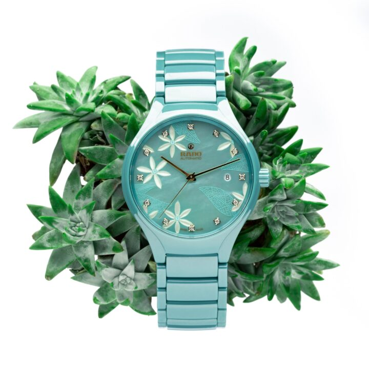 Rado True x Great Gardens of the World, Chapter 1 Ref. R27114902 image via Fiorella Rosales at Swatch Group for use by 360 Magazine