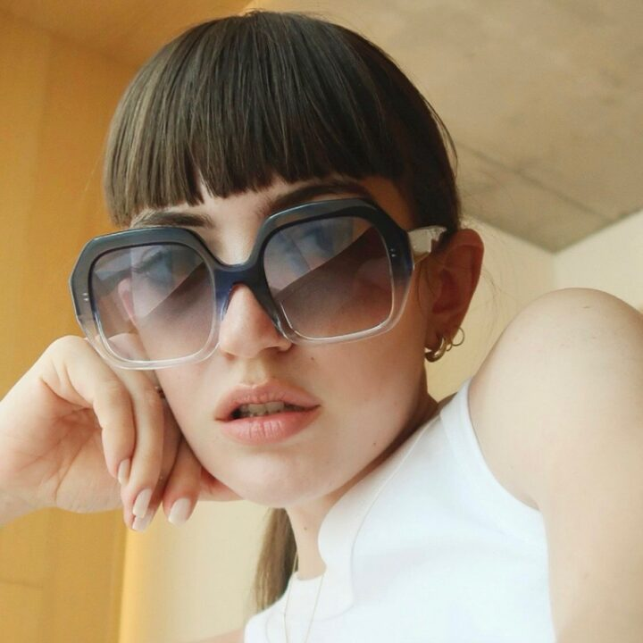 APERCU EYWEAR THE LAURENCE FRAME IN BLEU MARINE image via BEVERLY BOND PUBLIC RELATIONS for use by 360 Magazine