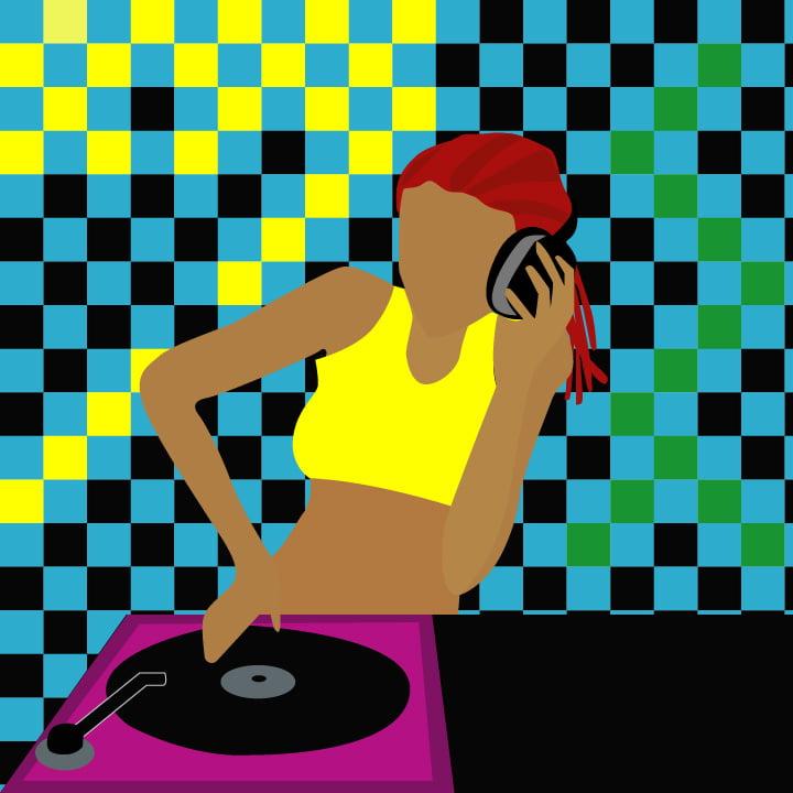 DJ illustration by Rita Azar for use by 360 Magazine