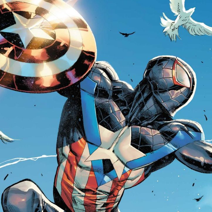 Miles Morales Captain America Variant Cover by Iban Coello & Alejandro Sànchez from Anthony Blackwood, Marvel for use by 360 Magazine