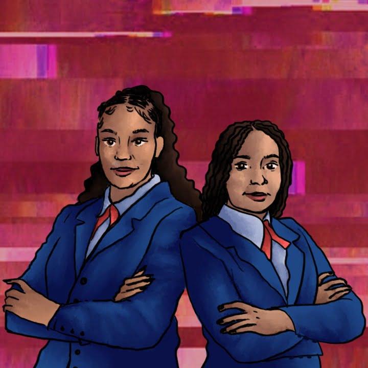 Black Girl Duo Debate Team Harvard illustration by Alex Bogdan for use by 360 Magazine