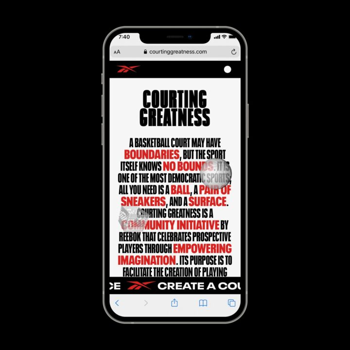 Reebok Courting Greatness campaign image via Vicki Scarfone at M&C Saatachi Sports and Entertainment for use by 360 Magazine