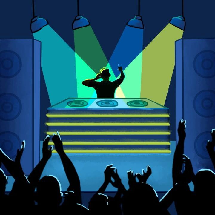 DJ illustration by Alex Bogdan for use by 360 Magazine